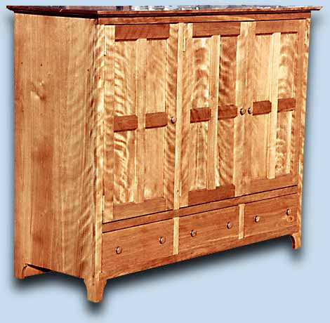 Flaming Red Birch Shaker Style Entertainment Center